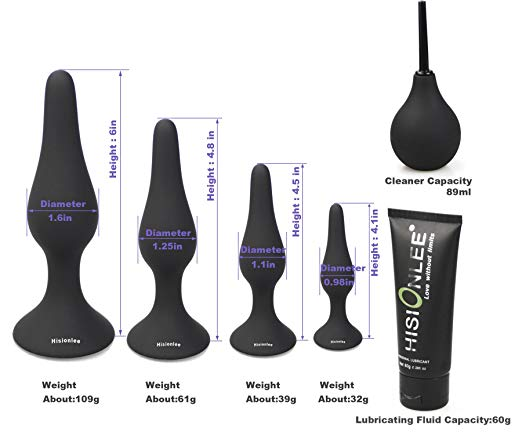 Hisionlee Medical Silicone Sensuality Black Anal Butt Plugs